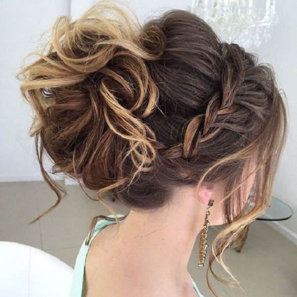 Braided Messy BunHairstyle For Women