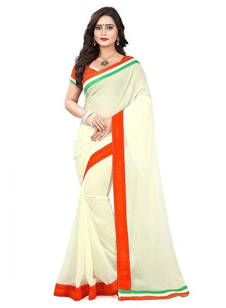White Saree With Orange-Green Border