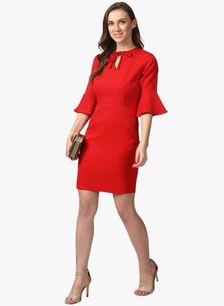 Solid Front Knot Dress