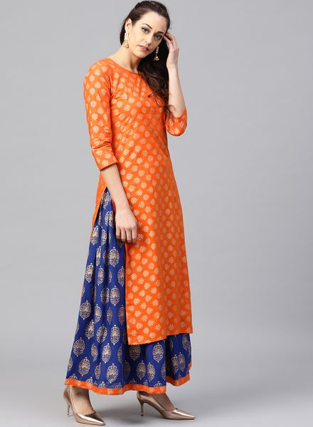 Orange Kurta and Blue Skirt