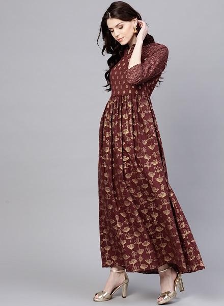 Golden Printed Maxi dress
