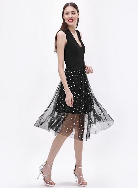 Mesh Midi Skirt