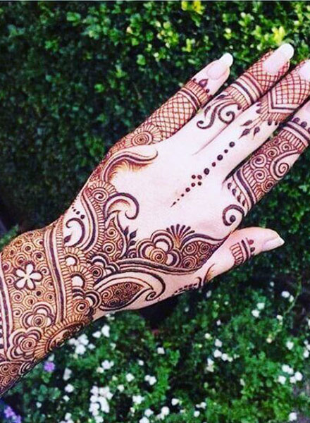 full hand arabic mehndi design back side